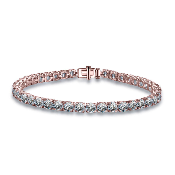 Labyrinth Diamonds 14K Rose Gold Classic One Line Tennis Bracelet Luxe Round