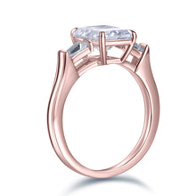 Load image into Gallery viewer, Labyrinth Diamonds 14K Gold Three Stone Diamond Engagement Ring with Tapered Baguettes Ring
