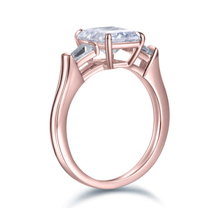 Labyrinth Diamonds 14K Gold Three Stone Diamond Engagement Ring with Tapered Baguettes Ring