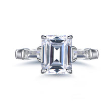 Load image into Gallery viewer, Labyrinth Diamonds Three Stone Diamond Engagement Ring with Tapered Baguettes Ring