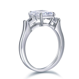 Labyrinth Diamonds Three Stone Diamond Engagement Ring with Tapered Baguettes Ring