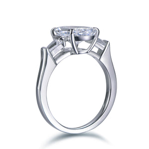 Labyrinth Diamonds Three Stone Oval Diamond Engagement Ring with Tapered Baguettes Ring