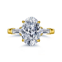 Load image into Gallery viewer, Labyrinth Diamonds 14K Gold Three Stone Oval Diamond Engagement Ring with Tapered Baguettes Ring