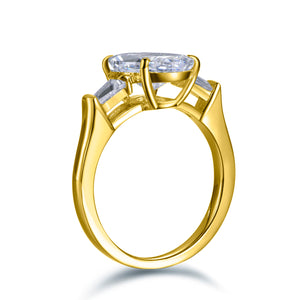 Labyrinth Diamonds 14K Gold Three Stone Oval Diamond Engagement Ring with Tapered Baguettes Ring
