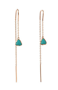 Anné Gangel Floating Turquoise Pebble & Gold Threader Earrings
