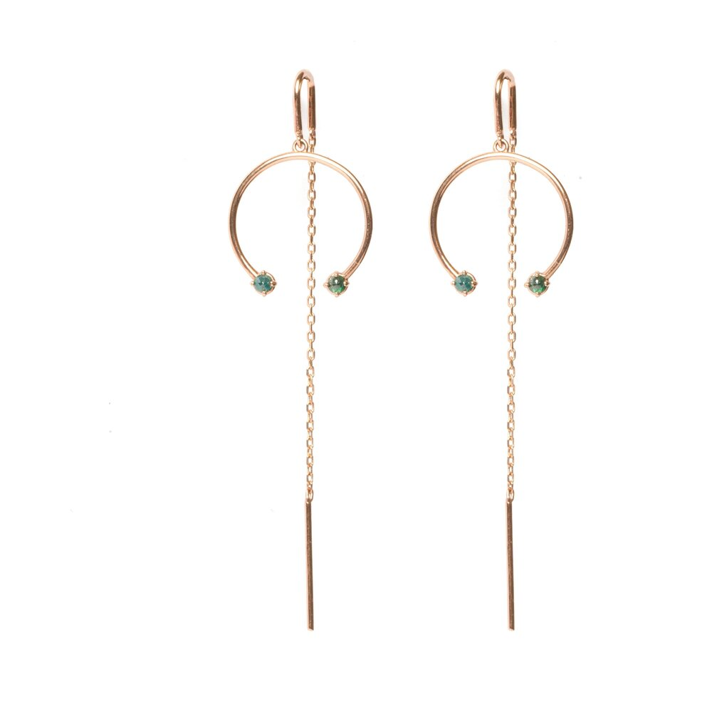 Anné Gangel Floating Green Diamond Horseshoe Hoop Threaders
