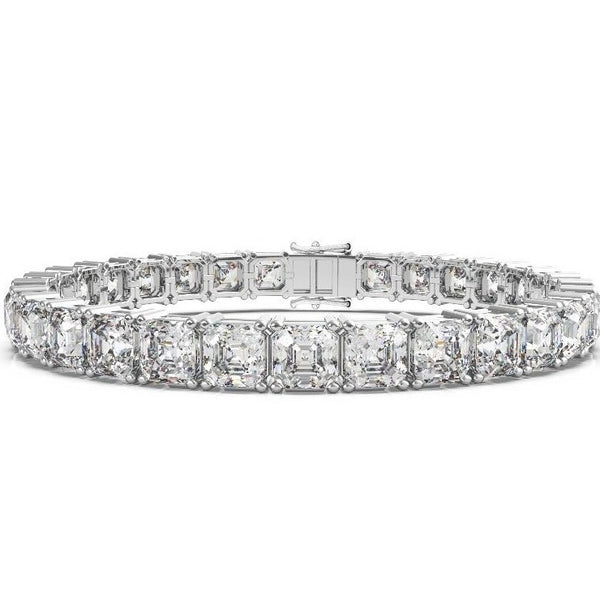 Labyrinth Diamonds 14K White Gold Classic One Line Tennis Bracelet Asscher