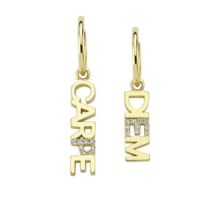 "OWN Your Story ""Carpe Diem"" Huggie Hoop Earrings and Charms with White Diamonds"