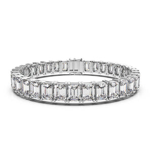 Labyrinth Diamonds 14K White Gold Classic One Line Tennis Bracelet Emerald