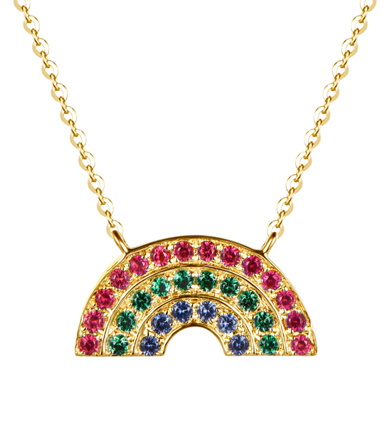 Atelier All Day 14K Gold Vermeil #RAINBOWHUNT Pendant with a Rainbow of CZs, benefitting No Kid Hungry
