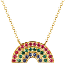 Load image into Gallery viewer, Atelier All Day 14K Gold #RAINBOWHUNT Pendant with a Rainbow of Rubies, Emeralds and Sapphires, benefitting No Kid Hungry
