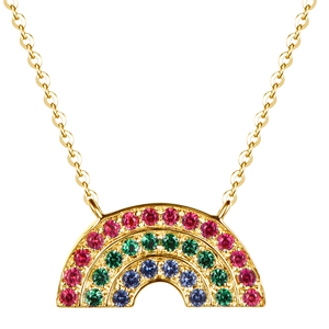 Atelier All Day 14K Gold #RAINBOWHUNT Pendant with a Rainbow of Rubies, Emeralds and Sapphires, benefitting No Kid Hungry