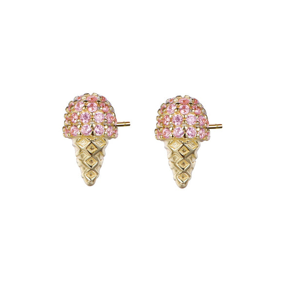 Atelier All Day 14K Gold Vermeil & CZ Strawberry Ice Cream Cone Studs