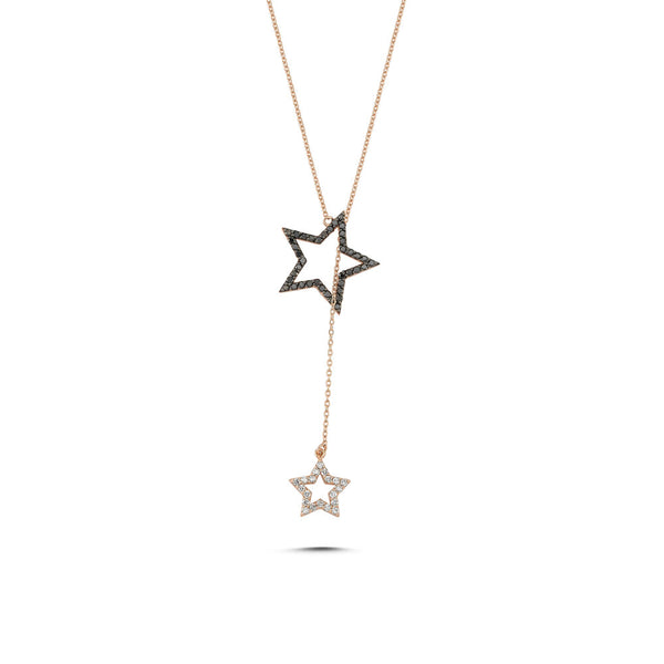 OWN Your Story Two-Star Dangling Black and White Diamond Lariat Pendant