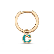 Load image into Gallery viewer, OWN Your Story 14K Gold Enamel Initial Diamond Hoop with Diamonds (Single)