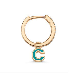OWN Your Story 14K Gold Enamel Initial Diamond Hoop with Diamonds (Single)