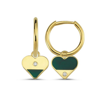 Load image into Gallery viewer, OWN Your Story Heart Diamond Enamel Hoops