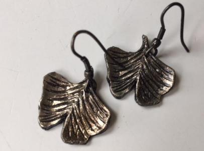 Ginkgo Leaf Earrings, Pewter - The Essential Herbal