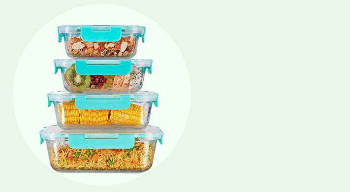 Allo foodsafe set of 4 Horizontal view of glass containers with food. Glass containers square, round, rectangle. best for daily use. stacking in your kitchen, refrigerator and oven