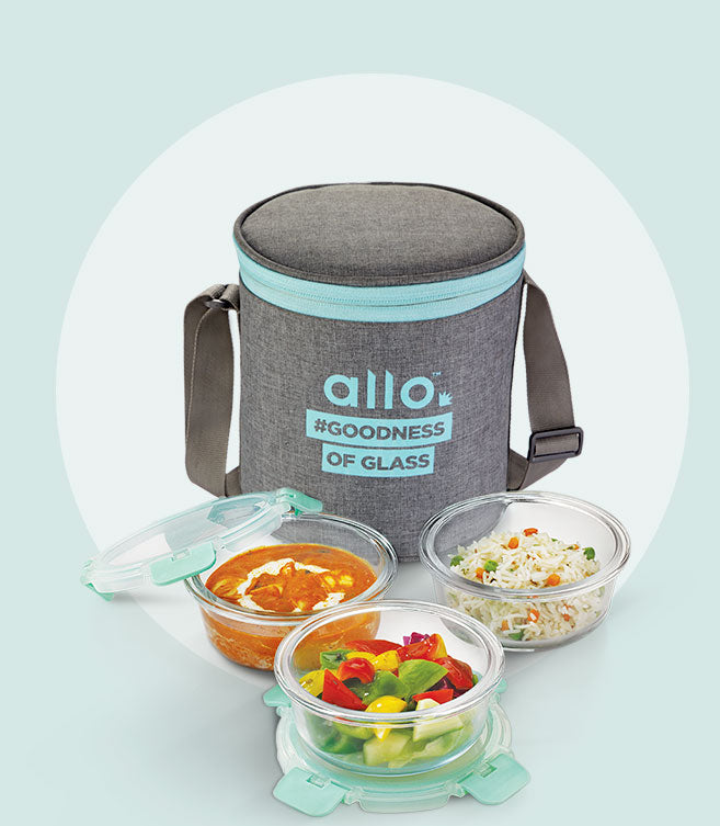 Allo foodsafe glass lunch box Canvas Gray round set of 3. Food safe Glass lunch box. Leakproof and airtight. Best for office use
