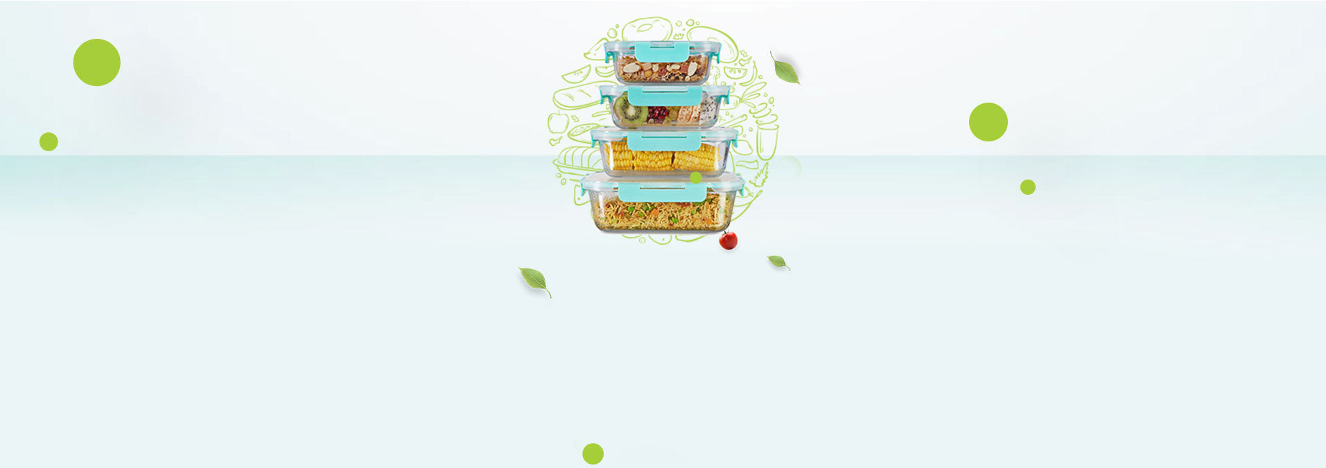 Allo foodsafe Horizontal view of glass containers with food. Glass containers square, round, rectangle. best for daily use. stacking in your kitchen, refrigerator and oven