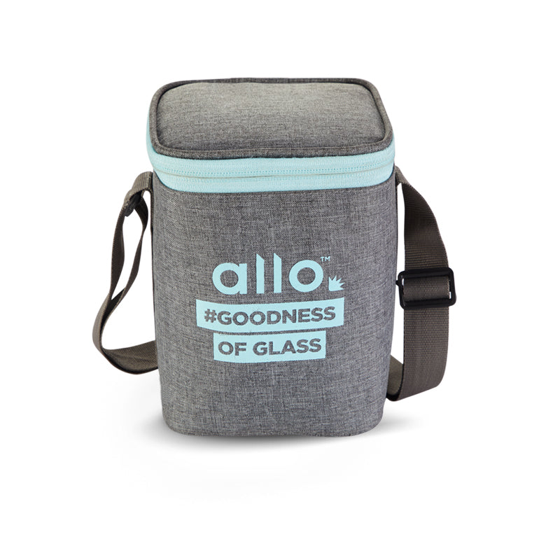 Allo Square Canvas Grey Lunch Bag for Office,School | Ideal for 3pc 310ml Containers Tiffin Bag (ONLY BAG)