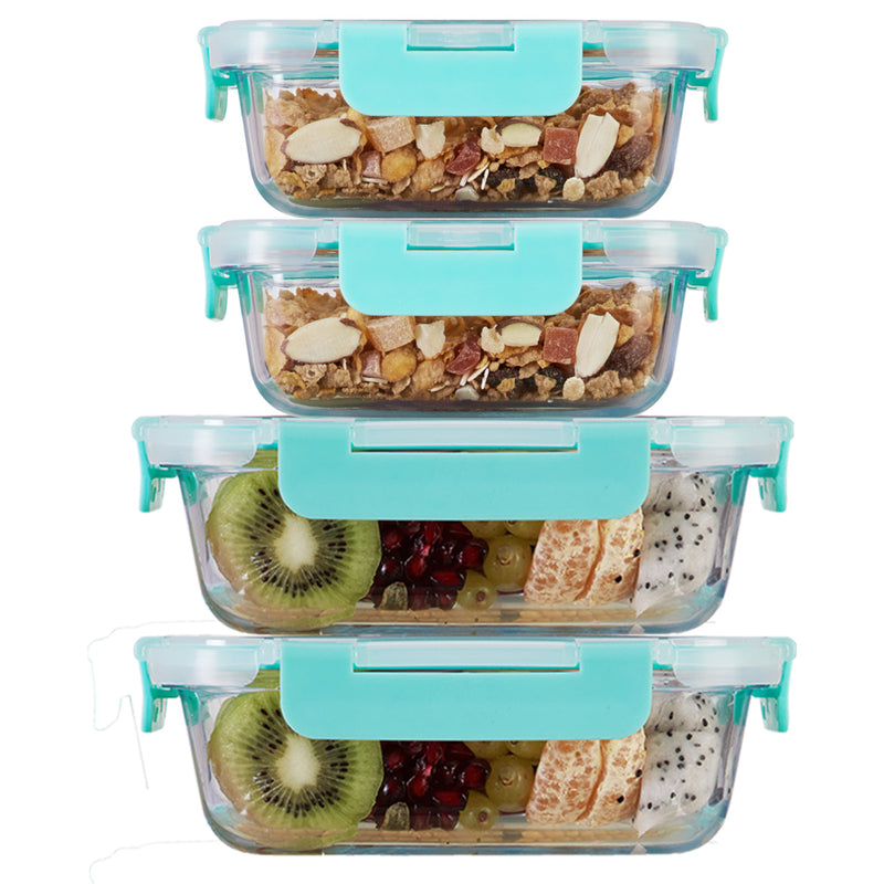 370ml x 2, 640ml x 2 Allo FoodSafe Microwave Oven Safe Glass Container with Break Free Detachable Lock
