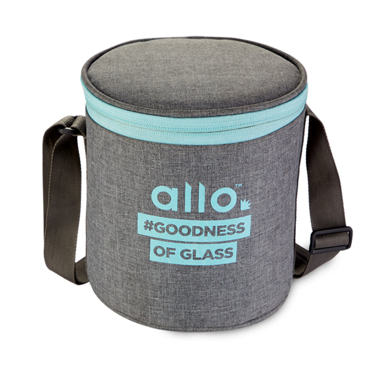 Allo Round Canvas Grey Lunch Bag for Office,School| Ideal for 3pc 390ml Containers Tiffin Bag (ONLY BAG)