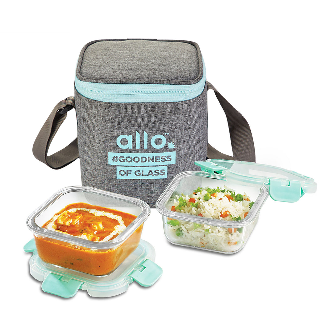 Allo Foodsafe 310ml x 2 glass lunch box with canvas grey bag, leak proof airtight, microwave & oven safe, trendy & stylish lunch boxes. Office tiffin.