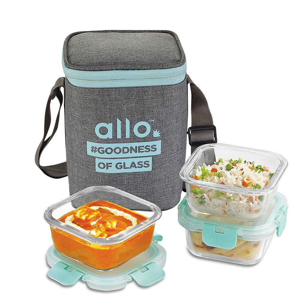 Allo foodsafe Borosilicate Microwave glass container set of 3 x 310ml with Canvas Grey Bag, for healthier lifestyle and great lunch breaks.