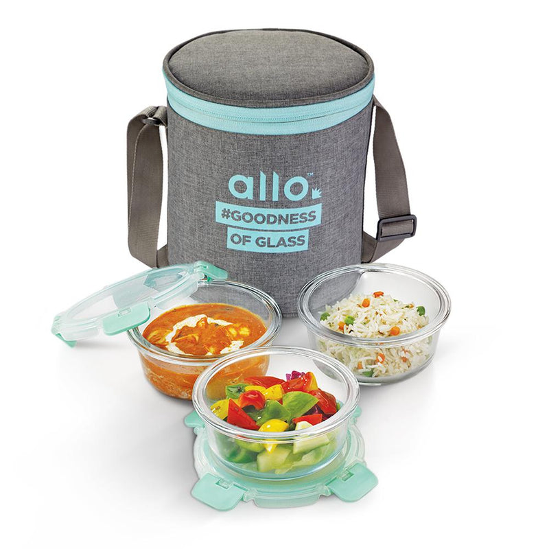 Borosilicate Microwave glass bowl 390 ml x 3 Canvas Grey Bag Tiffin, Can be used for storing food in kitchen and fridge.