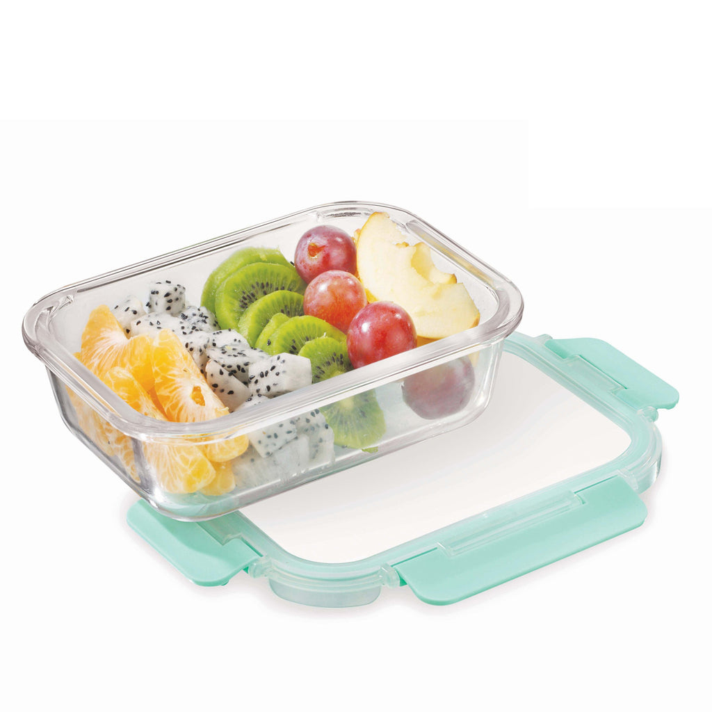 Allo FoodSafe Rectangle 1040 ml Glass Food Kitchen Storage Container with Break Free Locks, Oven Safe Microwavable, Leak Proof glass container with lid