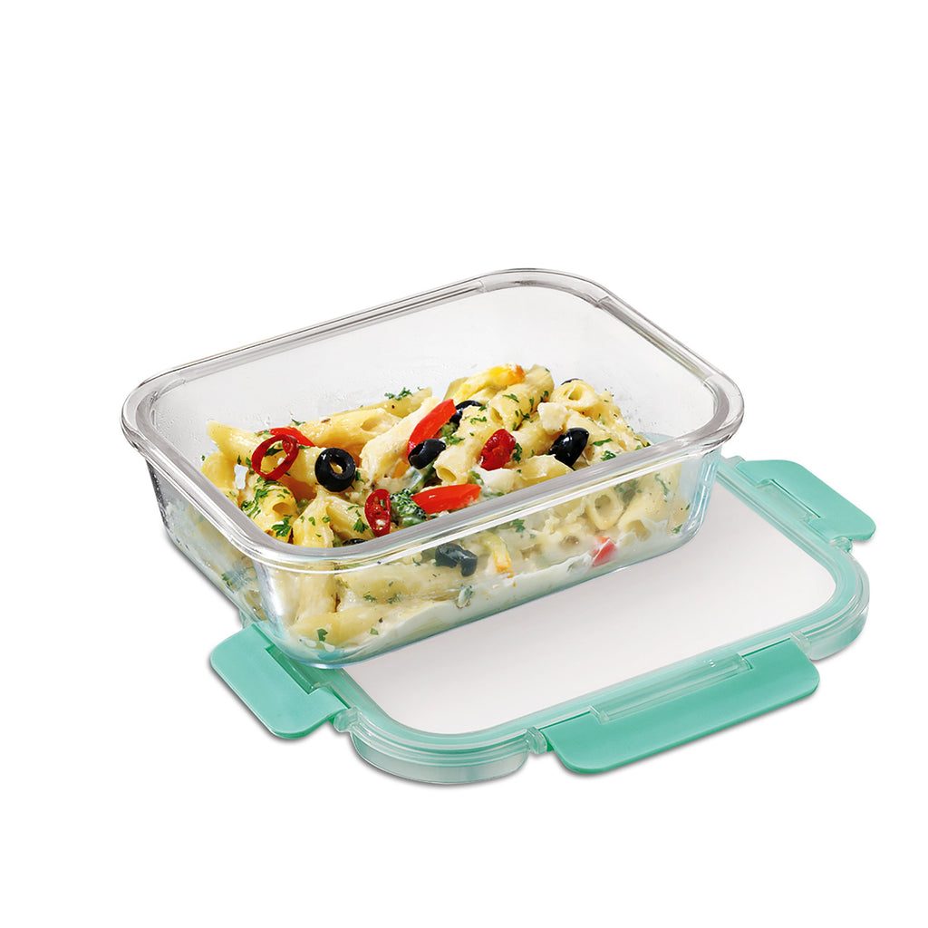 Borosilicate Microwave Glass container of 640ml capacity Can be used for storing food in kitchen and fridge.