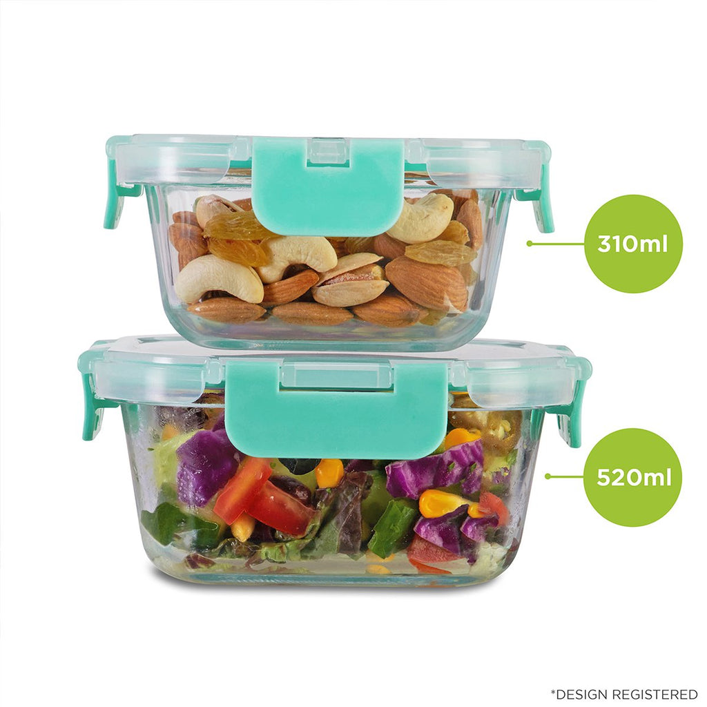 Allo foodsafe Borosilicate Microwave glass container set of 310ml, 520ml for healthier lifestyle and kitchen storage.
