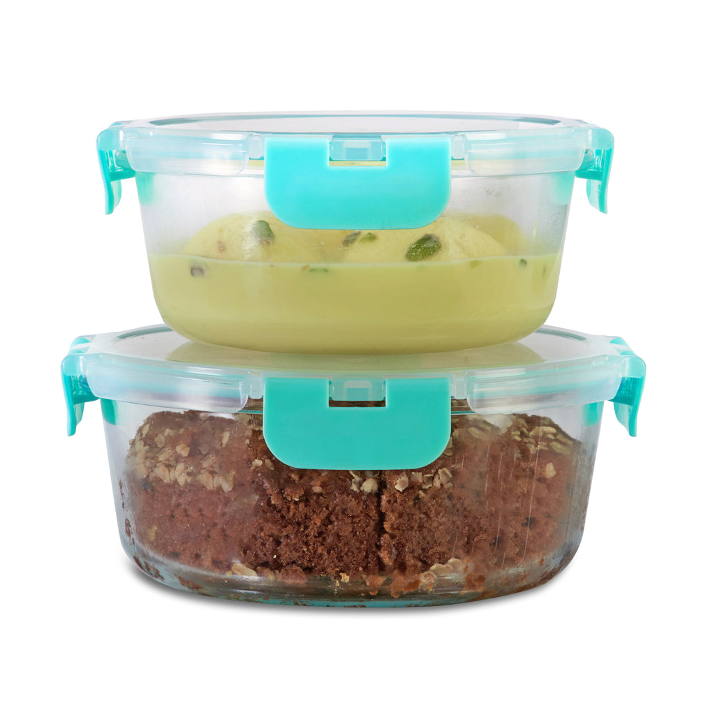 635ml, 930ml Allo FoodSafe Microwave Oven Safe Glass Container with Break Free Detachable Lock