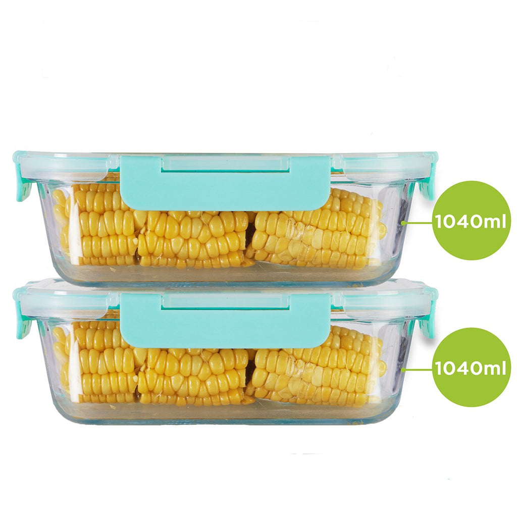 Allo FoodSafe Rectangle 1040 ml x 2 Glass Food Kitchen Storage Container with Break Free Locks, Oven Safe Microwavable, Leak Proof glass container with lid, Food storage, Stackable glass container for kitchen