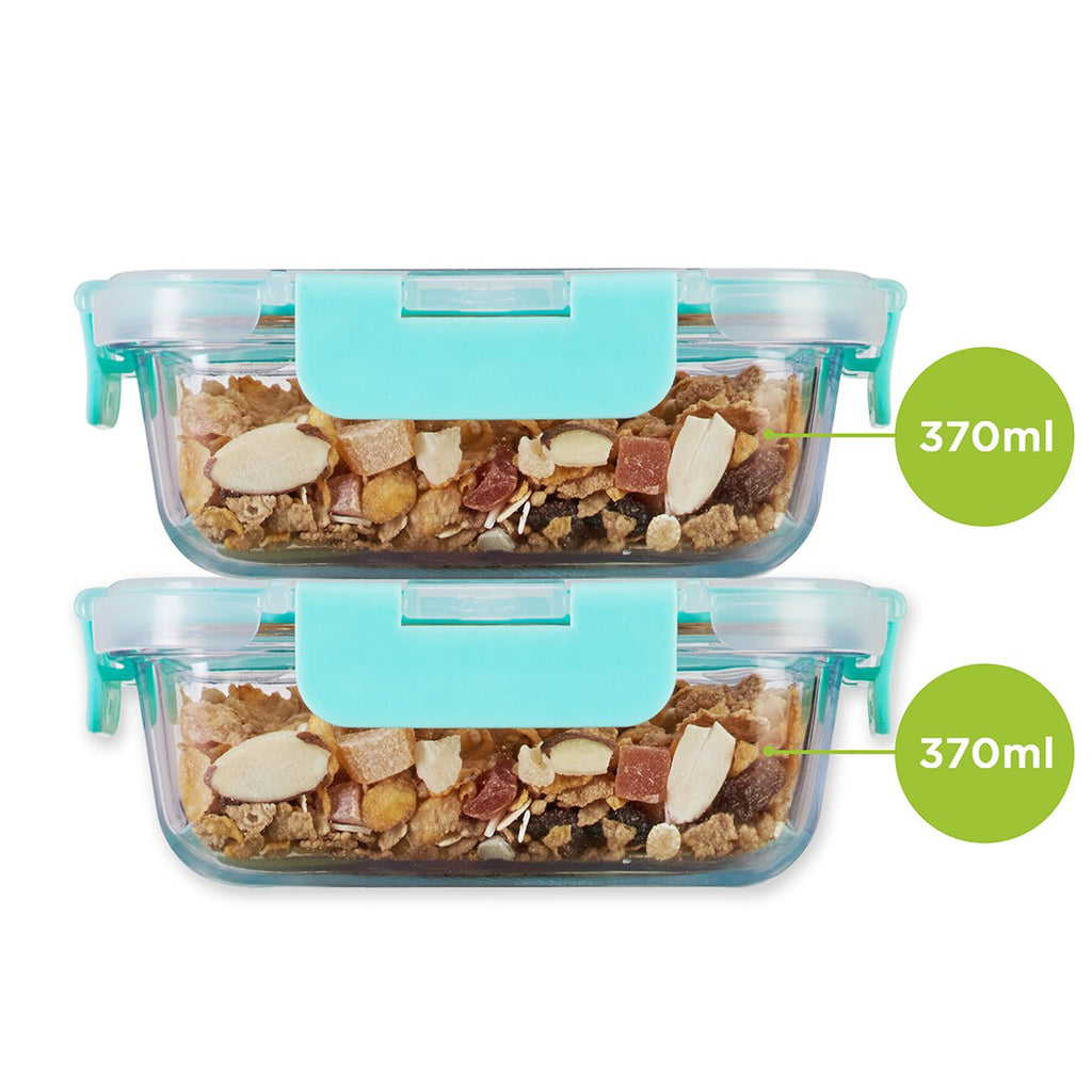 Allo foodsafe Borosilicate Microwave glass container set of 370ml x 2, for healthier lifestyle and kitchen storage.