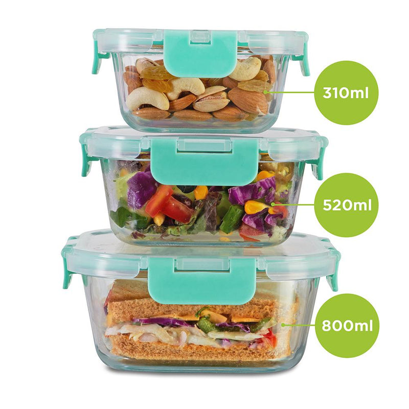 Allo foodsafe Borosilicate Microwave glass container set of 310ml, 520ml, 800ml, for healthier lifestyle and kitchen storage.