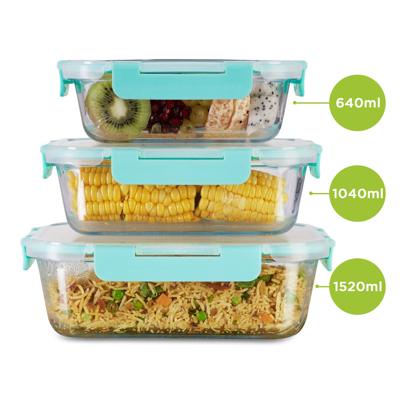Borosilicate Microwave glass container set of 3, 640ml 1040ml 1520ml , used for kitchen and fridge storage