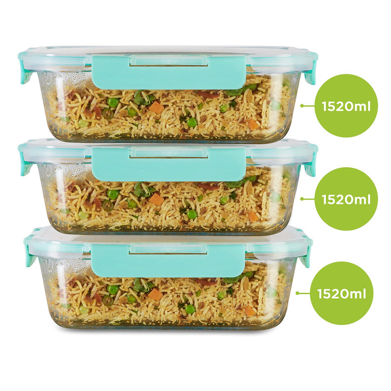Allo FoodSafe Rectangle 1520 ml x 3 Glass Food Kitchen Storage Container with Break Free Locks, Oven Safe Microwavable, Leak Proof glass container with lid, dry fruit storage jar