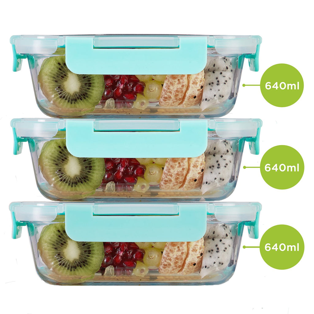 Borosilicate Microwave glass container 640ml x 3. Can be used for storing food in kitchen and fridge.