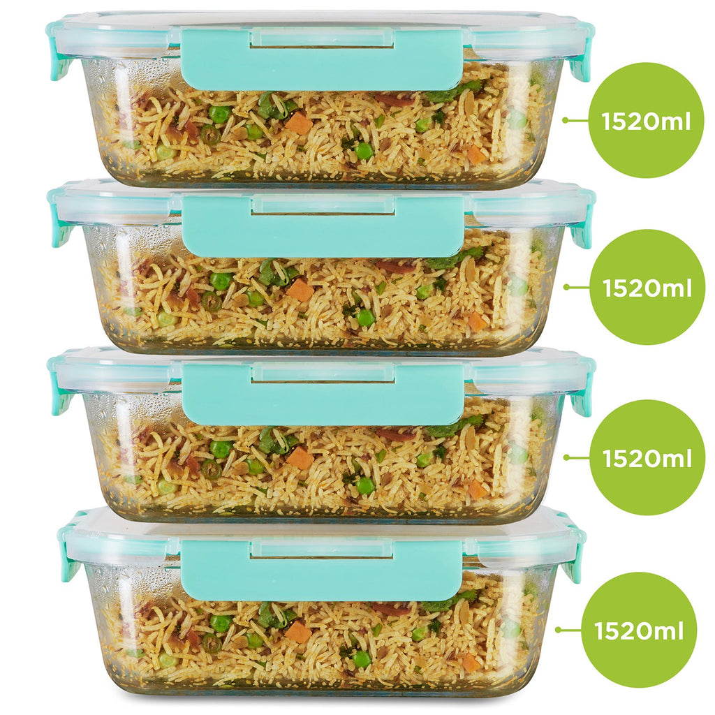 Allo FoodSafe Rectangle 1520 ml x 4 Glass Food Kitchen Storage Container with Break Free Locks, Oven Safe Microwavable, Leak Proof glass container with lid, dry fruit storage jar