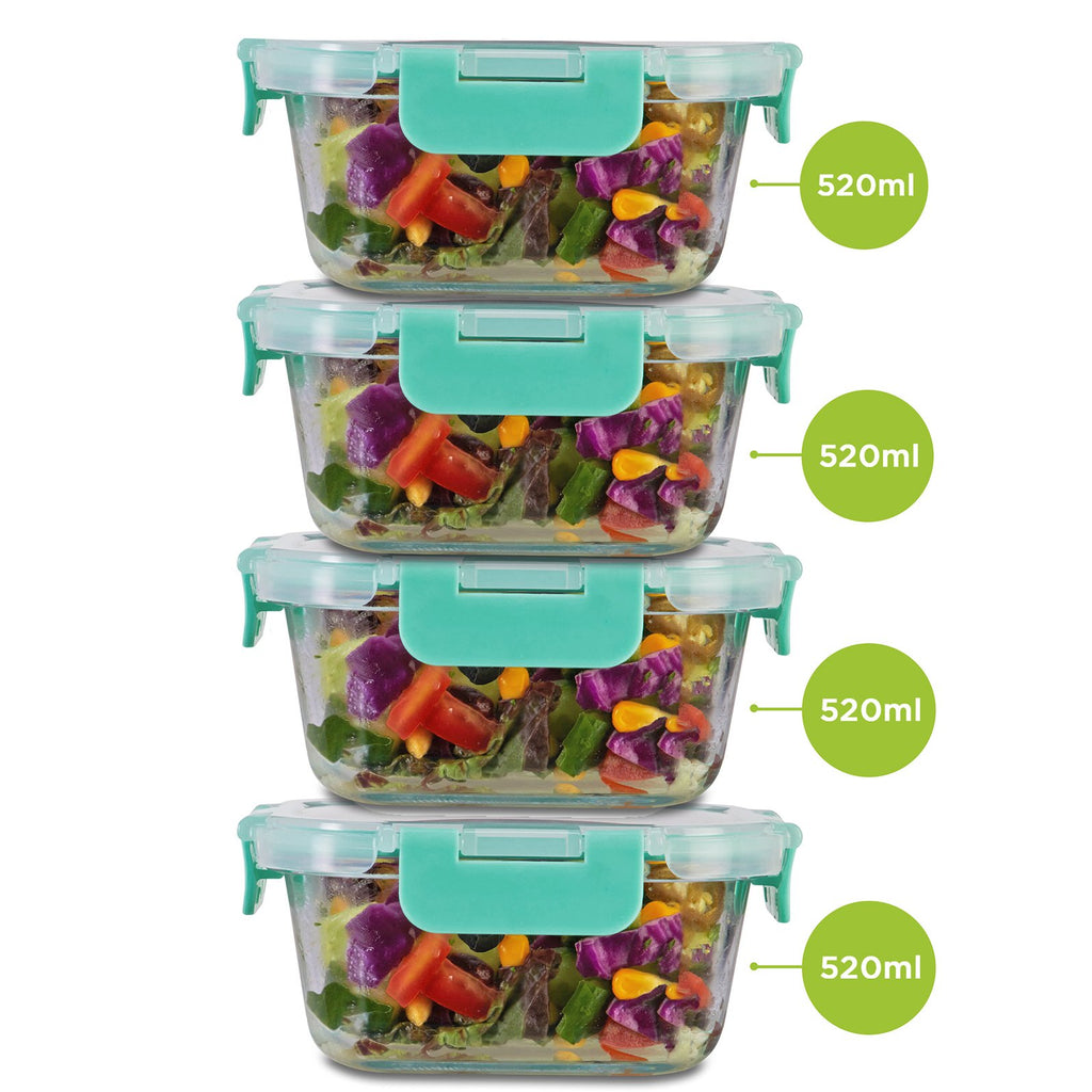 Borosilicate Microwave glass container set of 520ml x 4. Can be used for storing food in kitchen and fridge.