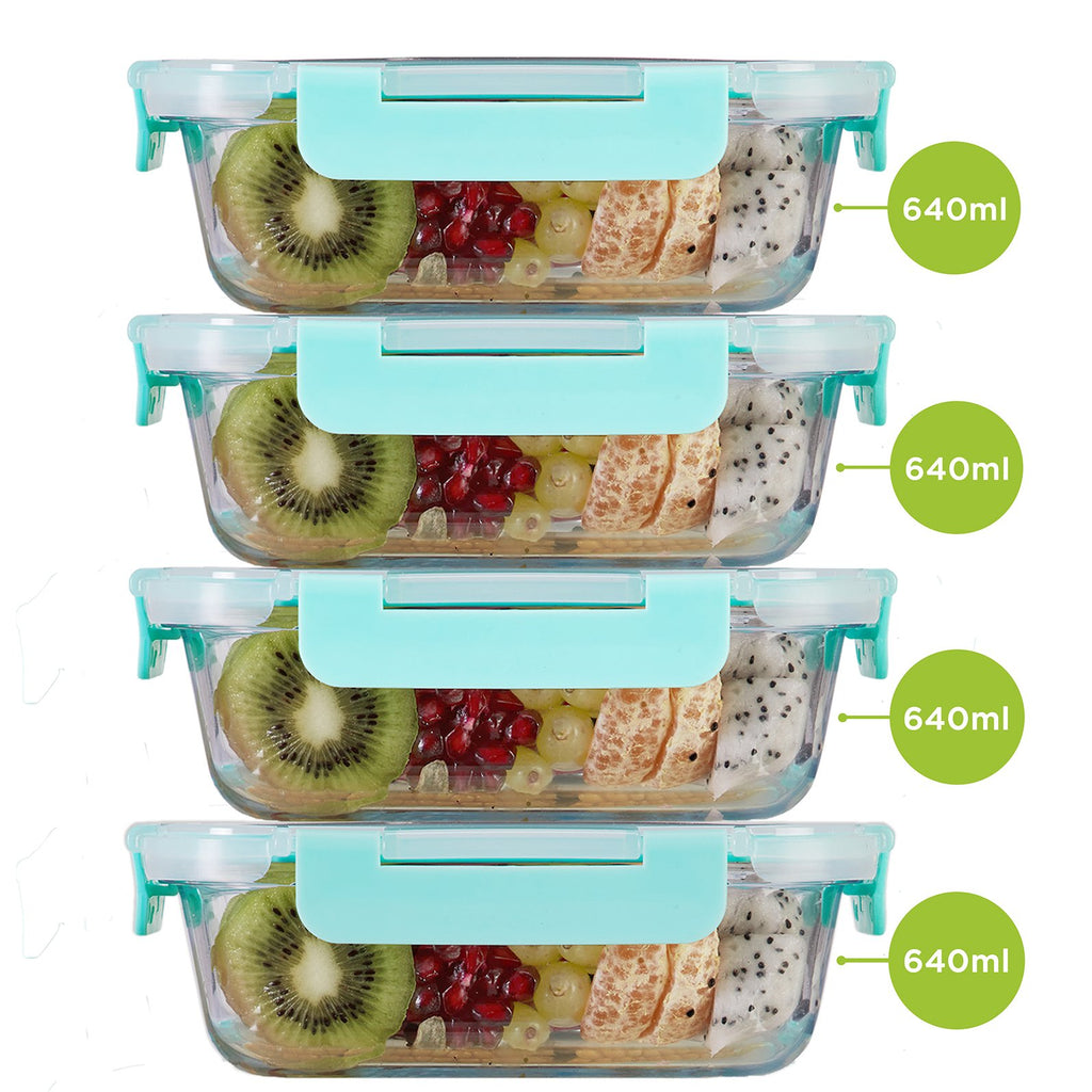 Borosilicate Microwave glass container 640ml x 4. Can be used for storing food in kitchen and fridge.
