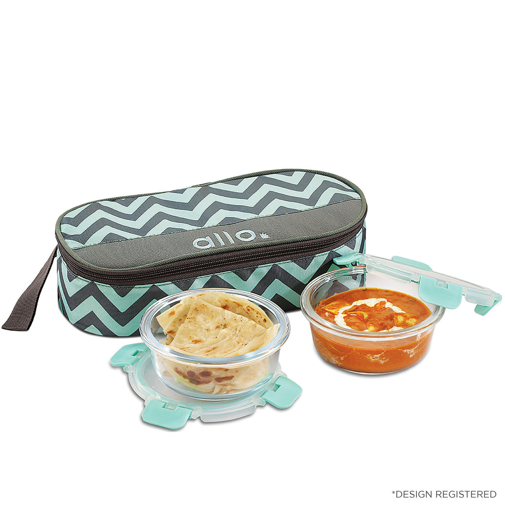 Borosilicate Microwave glass bowl 390 ml x 2 with rectangular Chevron Mint Bag, Ideal for office lunch breaks