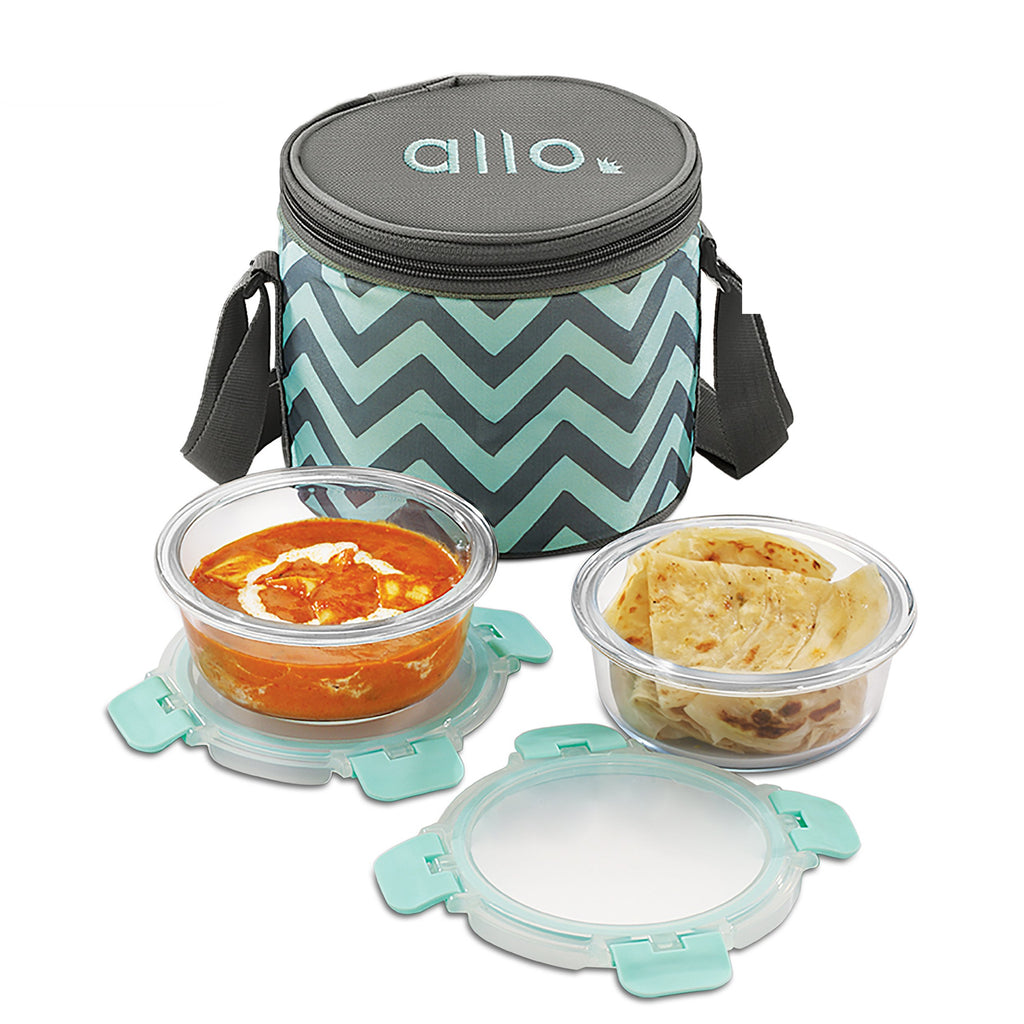 Borosilicate Microwave glass bowl 390 ml x 2 with Chevron Mint Bag, Ideal for office lunch breaks
