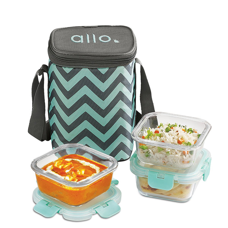 Allo foodsafe Borosilicate Microwave glass container set of 3 x 310ml with Chevron Mint Bag, for healthier lifestyle and great lunch breaks.