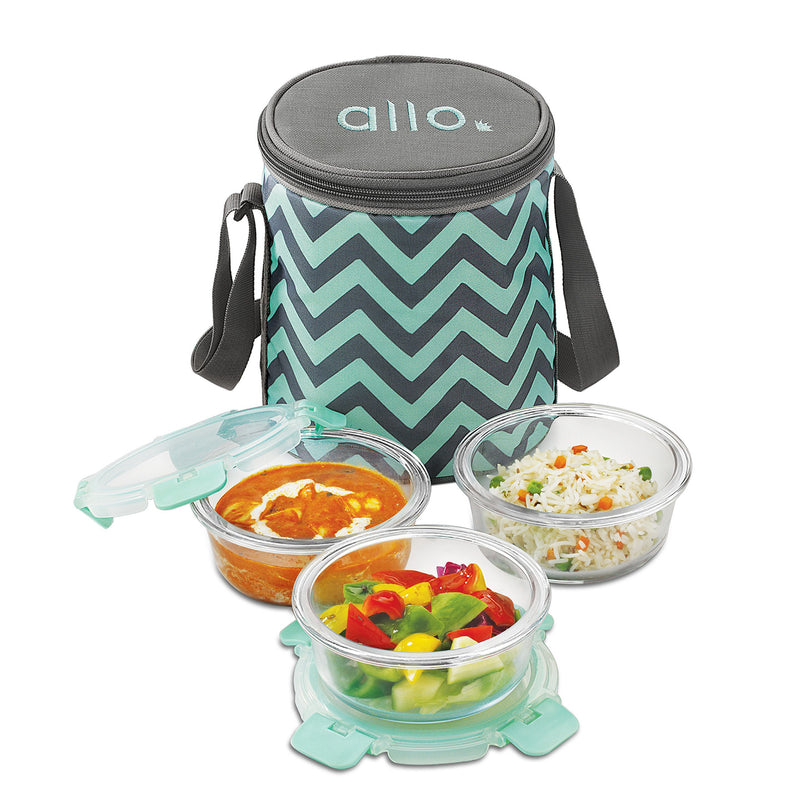 Borosilicate Microwave glass bowl 390 ml x 3 Chevron Mint Bag Tiffin, Can be used for storing food in kitchen and fridge.