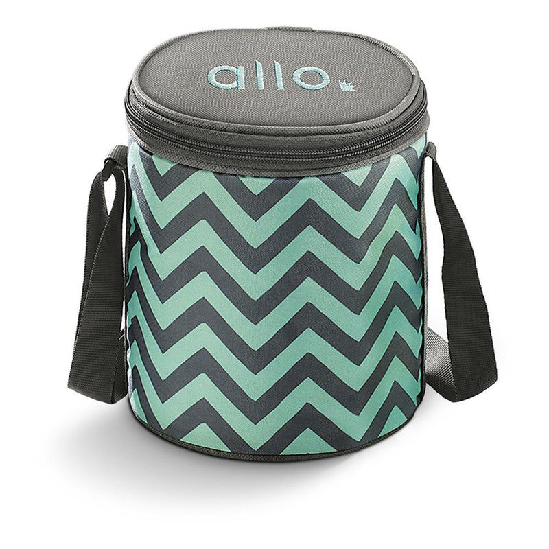 Allo Round Chevron Mint Lunch Bag for Office,School | Ideal for 3pc 390ml Containers Tiffin Bag (ONLY BAG) - Allo Innoware