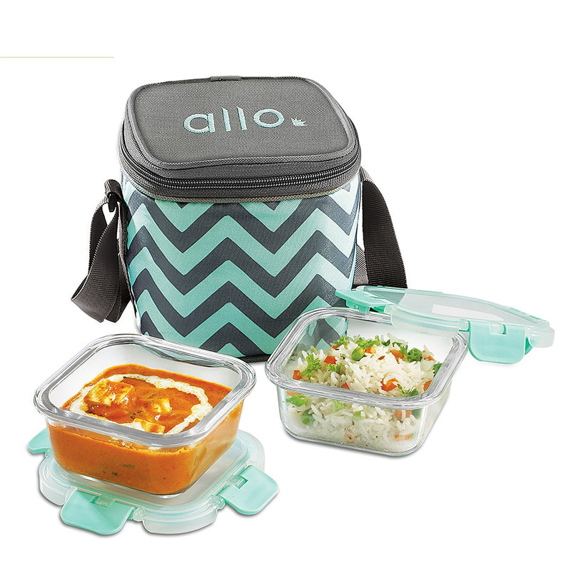 Allo FoodSafe Glass Lunch box is India's first break free detachable locks Glass lunch box with bag. Allo Foodsafe a microwave safe glass odourfree, stainfree, scratch resistant and airtight glass lunch box with a stylish bag